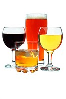 Beer, red and white wine and whiskey