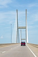 Sidney Lanier Bridge on Ocean Highway over the Saint Simons Sound connects Jekyll Island to Brunswick Georgia