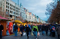 Christmas market Vaclavske namesti the Wenceslas Square central Prague Czech Republic Europe