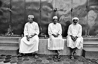 Portrait of three men  Mutrah Corniche  Muscat, Oman