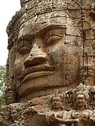 Stone face in the towers of Bayon Temple