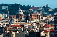 Naples Napoli skyline with domes and old buildings