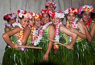 Portrait of girls preparing to perform a dance during the Heilala festival