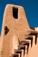 Exterior of the New Mexico Museum of Art, Santa Fe, New Mexico, USA