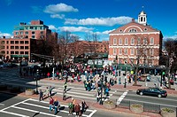 Samuel Adams monument and Faneuil Hall, Boston
