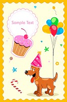 puppy in birthday card