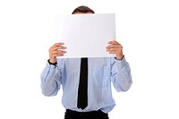 Businessman with a blank paper in his face