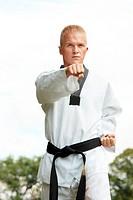 Taekwondo fighter outdoor