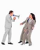 Businessman with megaphone yelling at associates against a white background
