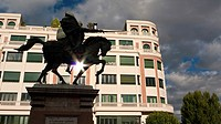 Equestrian statue of El Cid, a knight and national hero, Burgos, Castilla y Leon province, Spain  Camino de Santiago  The way of St  James