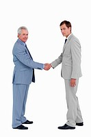 Side view of tradesmen closing a deal against a white background