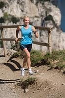 Woman, running, lake Garda, Running, rest, fitness, health, mass sport, nature, mountains, lake, lake Garda, Italy, upward, mountain run,