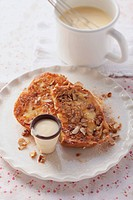 French toast with nuts and egg liqueur sauce