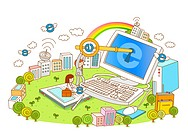 Executive unlocking computer with rainbow and buildings in background