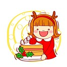 Illustration of a little girl holding plate of pastry