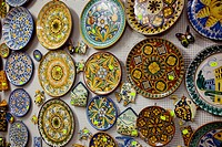 Souvenir shop with hand_decorated ceramics, Caltagirone, Sicily, Italy