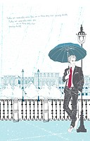 Illustration of businessman standing with umbrella
