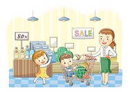 Illustration of mother shopping with two kids