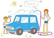 Illustration of children cleaning car