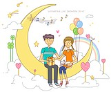 Illustration of couple sitting on moon