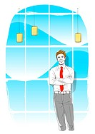 Illustration of an businessman standing with arms crossed