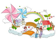 Pinwheel Over City And Happy Family