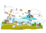 Father And Daughter On Paper Plane Pointing Toward Wind Mill