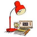 Table Lamp, Books And Alarm Clock