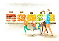 Family Holding Shopping Cart At Vegetable Shop