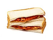 Bacon sandwich on white background