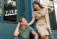 Couple outside shop