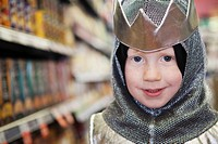 Portrait of boy 5_6 wearing knight costume