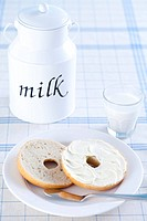 Close_up Of Bakery Items With A Bottle And Glass