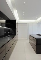 Modern showcase interior of kitchen