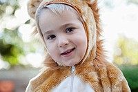 Portrait of boy 3-4 wearing bear costume (thumbnail)