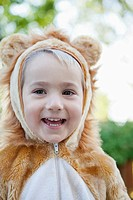 Portrait of cute boy 3_4 wearing bear costume