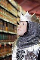 Portrait of boy 5-6 wearing knight costume (thumbnail)