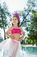 Portrait of girl 3_4 wearing princess costume