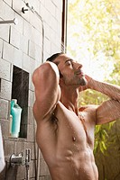 Man taking shower in spa