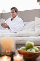 Man using tablet pc in spa
