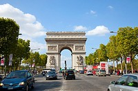 The Arc de Triomphe and Champs Elysee in Paris France