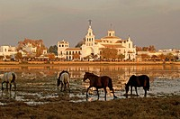 Village and Church, Ermita del Rocio, National Park of Doñana, Almonte, Huelva-province, Spain