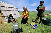 Mongolian nomads in their tents  A yurt is a portable, bent wood-framed dwelling structure traditionally used by Turkic nomads in the steppes of Centr...