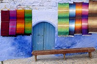 Display or Moroccan Carpets or Rugs at Chefchaouen Morocco