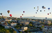 Ballooning at Goreme, Cappadocia, also Capadocia, Central Anatolia, largely in Nevsehir Province, Turkey