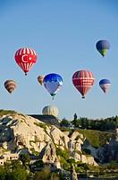 Ballooning at Goreme, Cappadocia, also Capadocia, Central Anatolia, largely in Nevsehir Province, Turkey