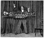 Levitation trick, 19th_century artwork. This trick is being performed by an Indian fakir. The term fakir refers to religious ascetics and mystics who ...