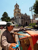 Organillero organ grinder. Coyoacan. Mexico City. Mexico.