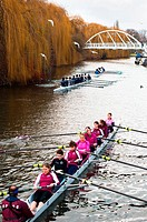 Teams of rowers on river Cam, Cambridge, England