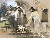 Cro_Magnon culture. Artwork of Cro_Magnon humans around a fire about 30,000 years ago during the Upper Palaeolithic. The old man right is based on the...